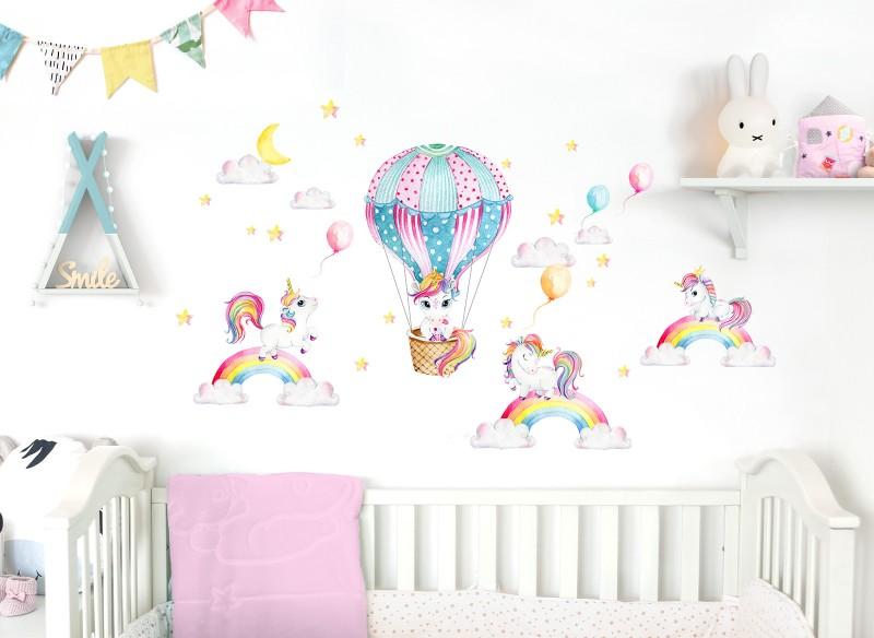 Little Deco Wandtattoo Einhorner Mit Regenbogen Heissluftballon Dl532 Tiere Madchen Baby 0 2 Jahre Little Deco De
