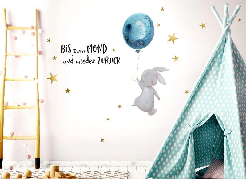 Little Deco Wandtattoo Bis zum Mond & Hase mit Luftballon DL133