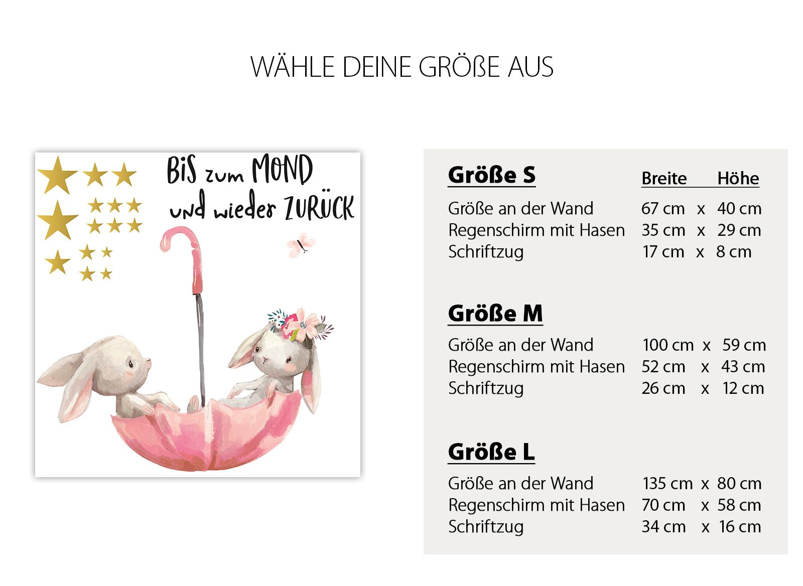 Little Deco Wandtattoo Bis Zum Mond Hasen Im Regenschirm Dl131 Tiere Madchen Baby 0 2 Jahre Little Deco De