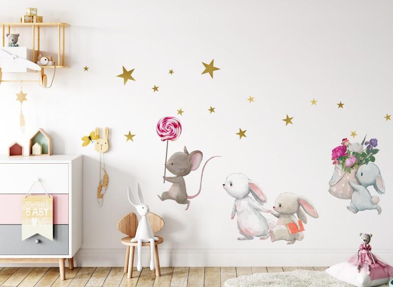 Little Deco Wandtattoo Hasenfamilie und Maus mit Lolli DL231