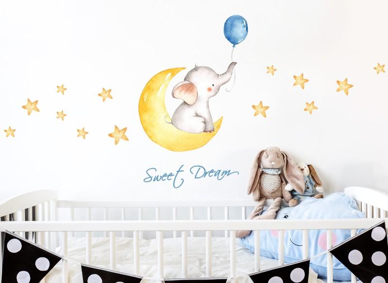 Little Deco Wandtattoo Sweet Dream Elefant Mond & Sterne DL190