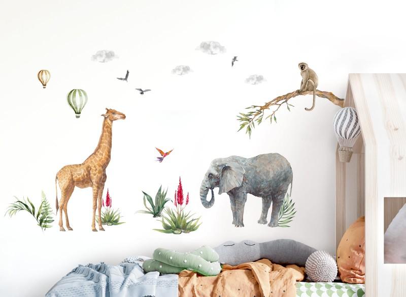 Little Deco Wandtattoo Safari Giraffe Elefant Affe & Heißluftballons DL692