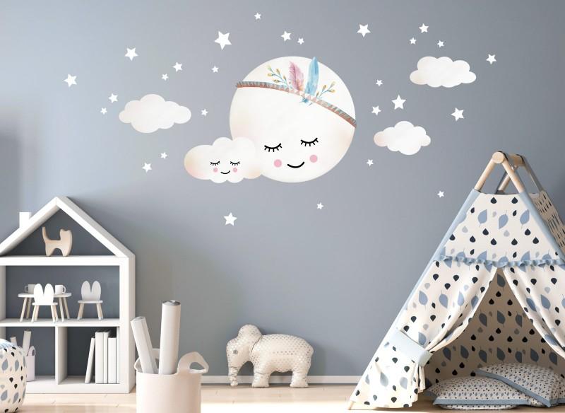 Little Deco Wandtattoo Wolken Mond & Sterne DL263