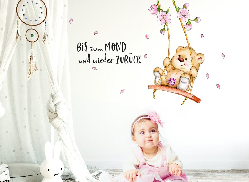 Little Deco Wandtattoo Bis zum Mond & Bär auf Schaukel DL151