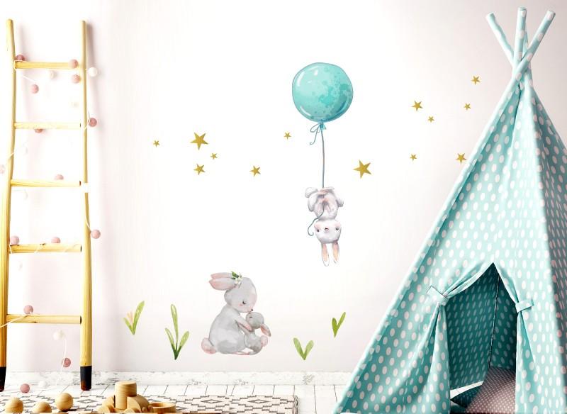 Little Deco Wandtattoo Hasen mit Ballon Blau DL237