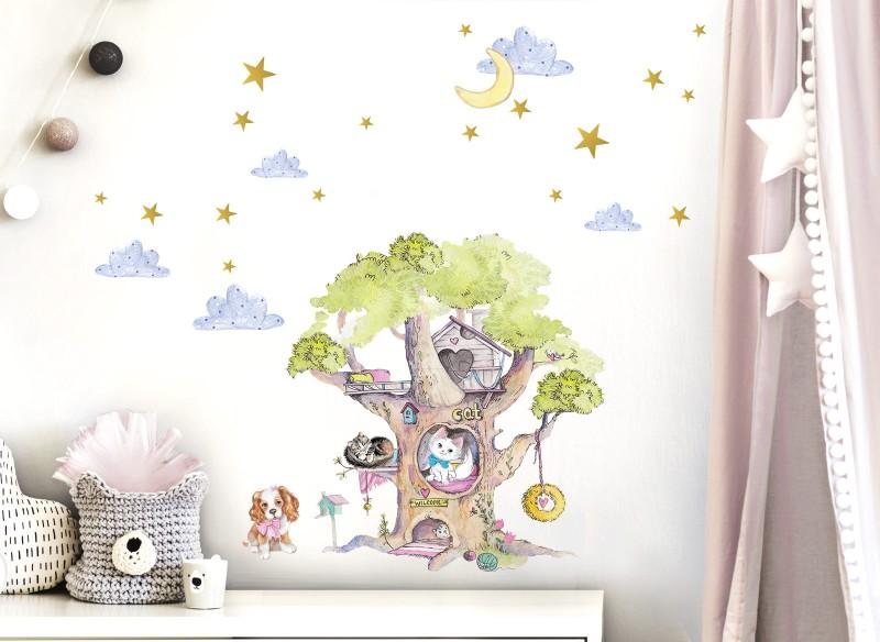 Little Deco Wandtattoo Baum mit Hund & Katzen DL412
