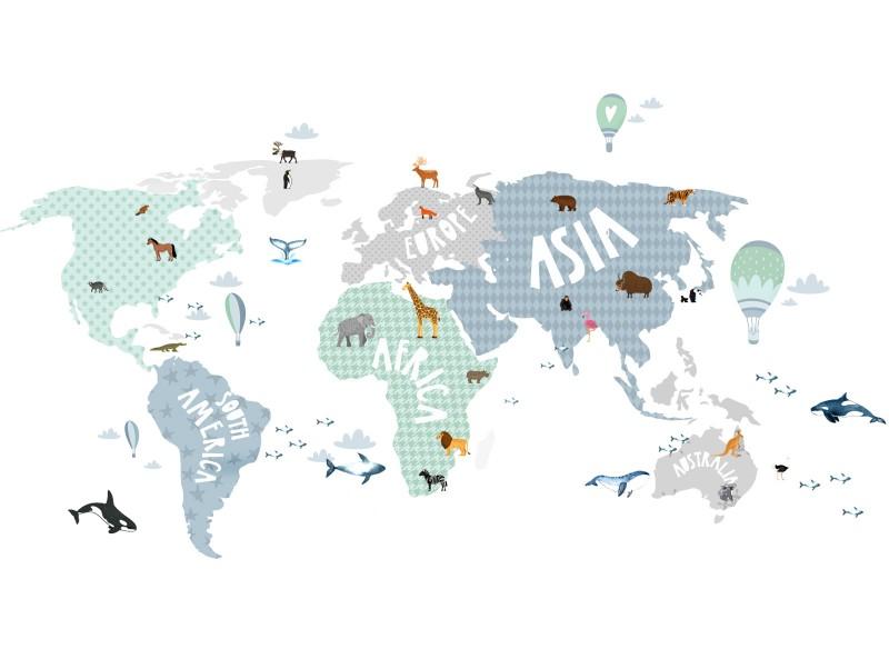 Little Deco Wandtattoo Weltkarte mit Tieren grau blau grün DL130
