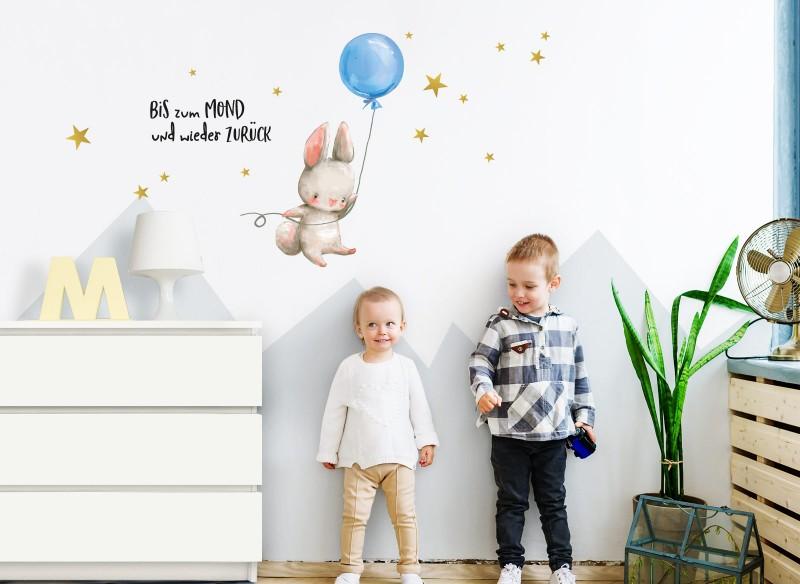 Little Deco Wandtattoo Hase mit Luftballon Blau & Spruch Bis zum Mond DL229
