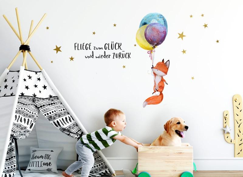 Little Deco Wandtattoo Fliege zum Glück und Fuchs mit Ballons DL278