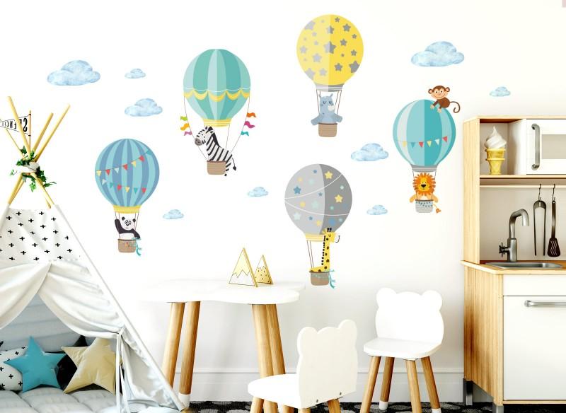 Little Deco Wandtattoo Zoo-Tiere im Heißluftballon DL217